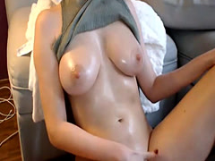 hot wet woman with huge boobs masturbates hard