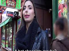 Hungarian babe sucks cock in elevator
