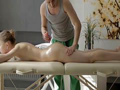 Sofia Russo receives massage and rammed on the table