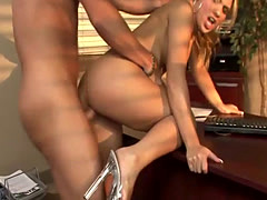 Blonde slut loves to ride his cock