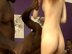 Sweet teen Jenna Justine all holes nailed by black guys