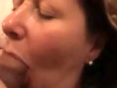 Drunken MILF fucked in mouth and jizzed on cheek