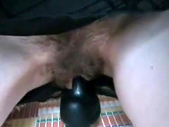 Saggy tits woman with hairy used pussy