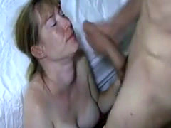 Big tits wife enjoys a facial cumshot