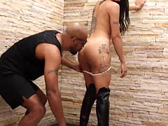 Brunette Nicolly Lopes gets ass nailed by big strong cock