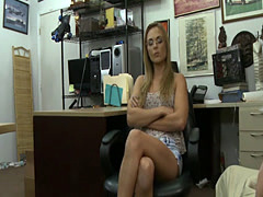 Skinny blonde babe with glasses boned by pawn keeper