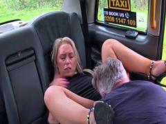Blue eyed blonde rimming fake cab driver