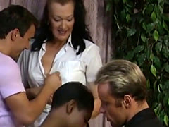 Oldschool interracial orgy porno flick