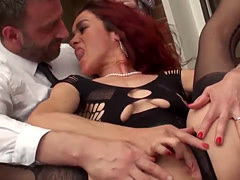 Mature redhead bitch loves to be drilled
