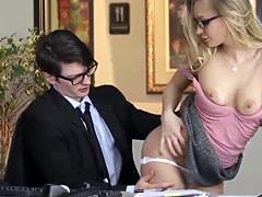 Hot Staci Carr bending over for her boss