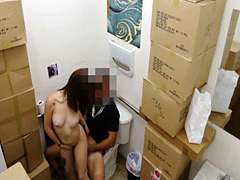 Naughty babe fucked by pawnshop owner inside the toilet
