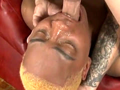 Short Haired Black Ghetto Whore Gagging On A White Dick