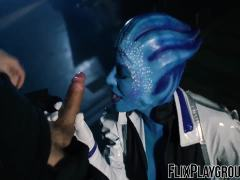 Alien babe fucking the dude hard