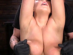 Natural huge tits slave caned in hogtie