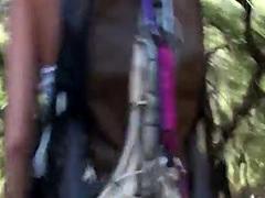 Teenage hiker sucking pov