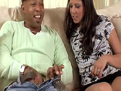 Black dude stretches a shaved cunt