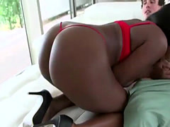 Sexy and lews Camille Amore bounces her big black booty