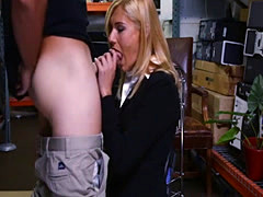 Hot blonde MILF hammered by pawn keeper in storage room