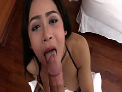 String bikini ladyboy gets her anal rammed by horny guy