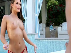 Blonde hottie fucked by a neighbour in a swimming pool