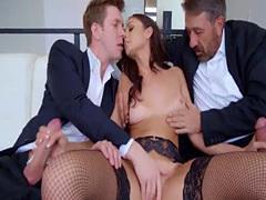 Horny Ariana Marie loves a hard threesome anal pounding