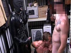 Straight male sleeping guy gay Dungeon master with a gimp