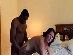 mature brunette cumming hard on a BBC