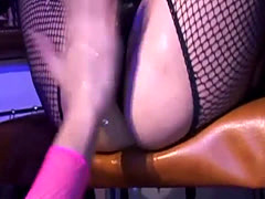 Hot lesbians in fishnets enjoy squirting