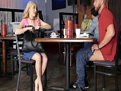 College couple threesome with busty milf at the diner