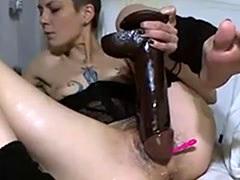 Punk girl giant dildo