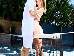 Busty blonde babe banged after playing tennis outdoors