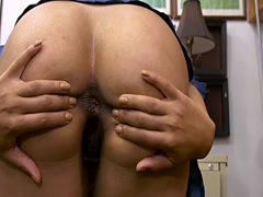 Brunette beauty shows off ass and pounded by pawn man