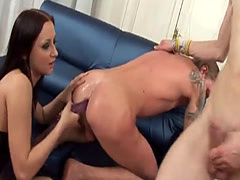 Brunette girl has fun with two guys