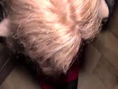 Tattooed ass blonde Milf fucks public agent