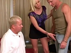 Blonde girl makes man suck cock