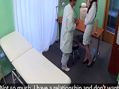 Redhead nurse fucks doctor for job