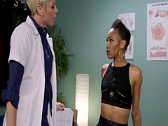 Ebony patient in suspension whipped ass