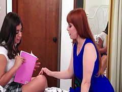 Horny ladies Penny with Ella and Reagan loves pussy licking