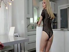 Blonde Sophie Summers sucks her stepbros big hard cock