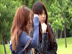 Asian babe pees her pants