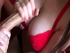 Wife doing a handjob and gets the cum on tits