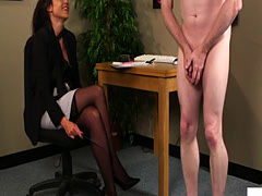 Euro femdom instructing tugging submissive