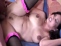 Pretty brunette girl jumps on a dick