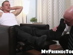 Bald mature gay guy likes to taste socks before licking feet