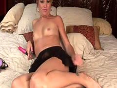 Skinny girl has fun with a dildo
