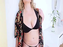 Blonde MILF stepmom punished a stepson for getting late