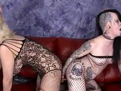 Two Tattoeod Up White Whores Gagging On Guys Dicks On Sofa