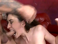 Brunette With Bolt On Fake Tits Getting Face Fucked Very Hard