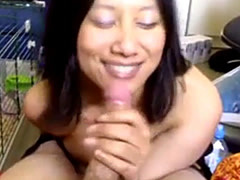 Asian GF suck and swallow