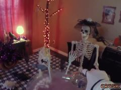 Mom fuck duddy's daughter with strap on Swalloween Fun